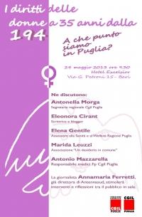 Il 24 maggio a Bari abbiamo organizzato un incontro sui Diritti delle Donne a 35 anni dalla 194 Di seguito le impressioni di Eleonora Ciran intervenuta al dibattito
